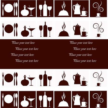 Set of kitchen ware on a white and brown background Vector