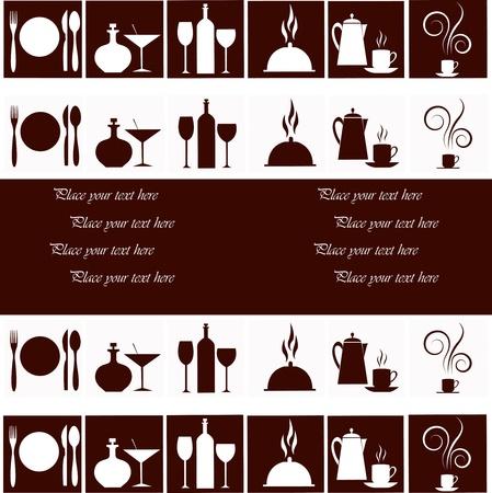 kuchnia: Zestaw naczynia kuchenne na tle białym i brązowym Ilustracja
