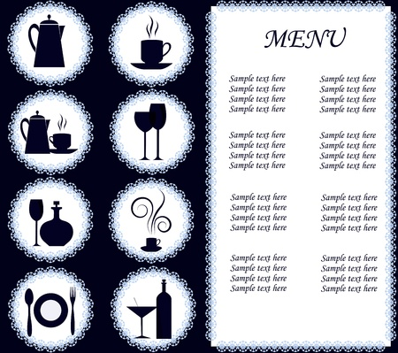 Set of kitchen ware on a white and dark blue background Vector