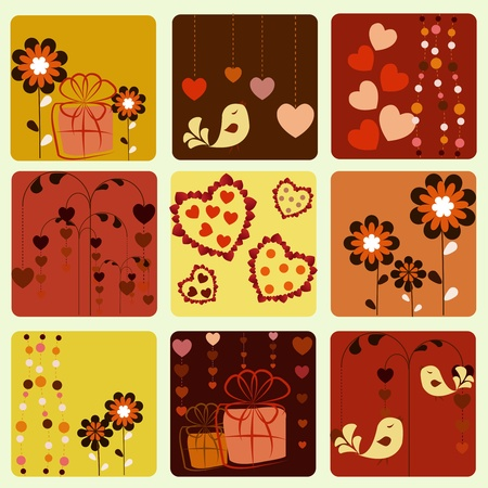 Nine beautiful icons with birds hearts gifts and a flowers Vector