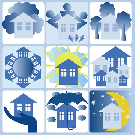 Nine icons in it is white blue tones on a theme the house