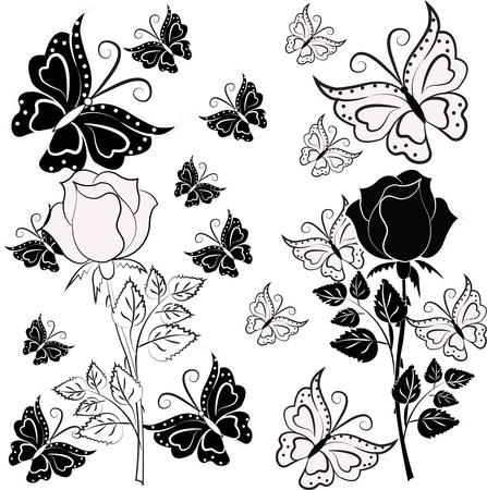 zwart wit tekening: Witte, zwarte roos met vlinders op een witte achtergrond