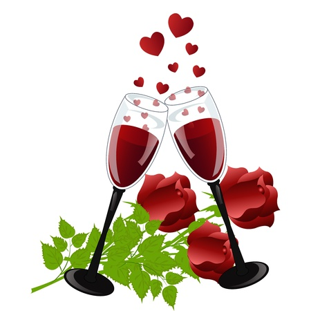 Two glasses with wine with hearts and roses on a white background Stock Vector - 13302821