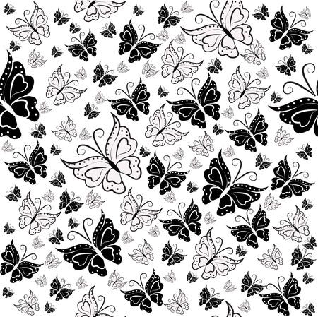 monochroom: Wall-paper van zwart-witte vlinders op een witte achtergrond Stock Illustratie