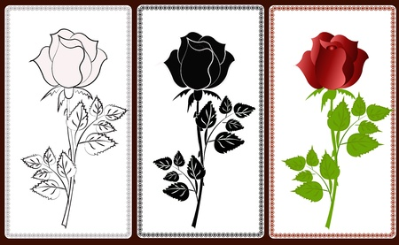 Three icons with white, black and red roses Illustration