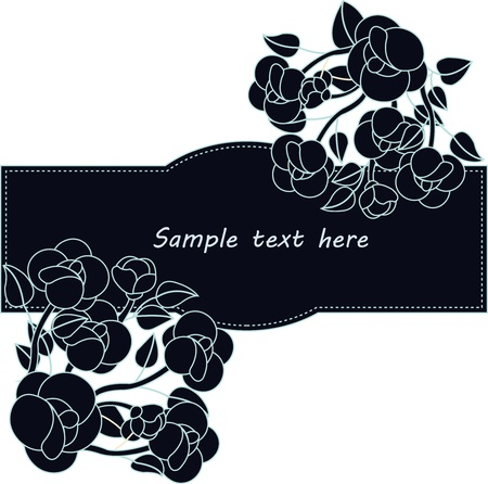 Framework fromdark blue a flowers on a white background Vector