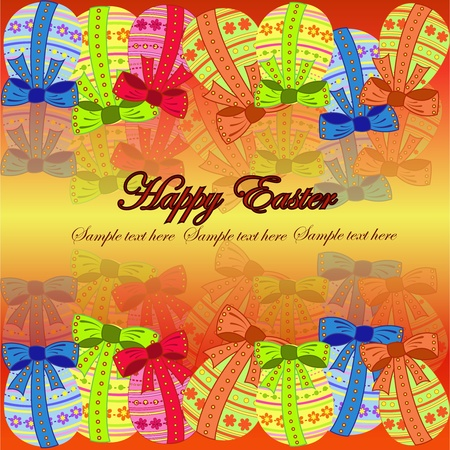 Multi-colored eggs with a pattern on a yellowish background Stock Vector - 13302820