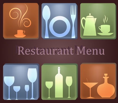 Six icons with kitchen ware Vector