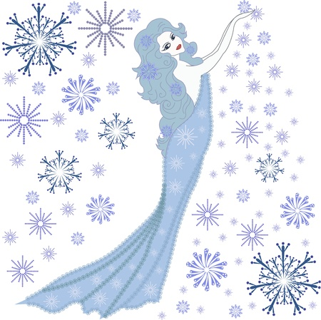 The girl winter with snowflakes Vector