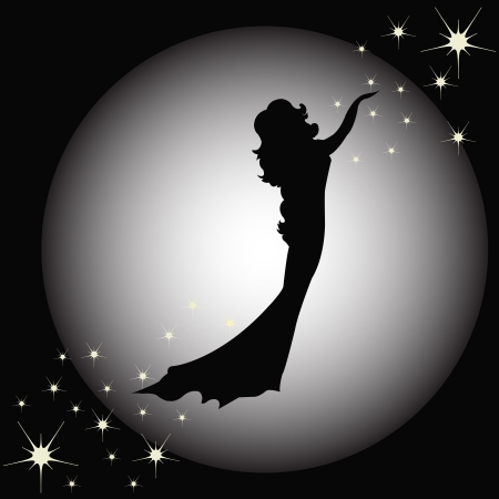 Contour of the girl against the moon with stars Vector