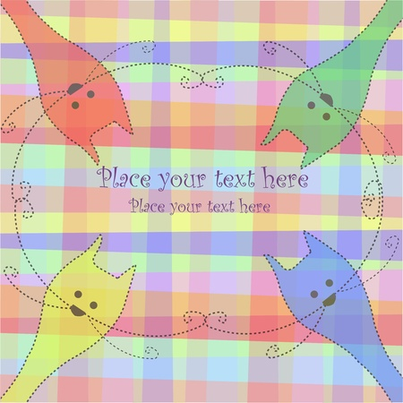 Four multi-colored cats on a checkered background Vector