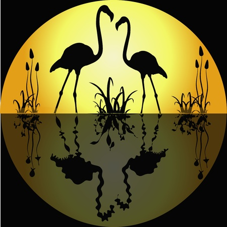 Reflection of two flamingos against the yellow moon in water Vector
