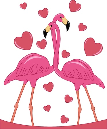 Two enamoured pink flamingos with hearts on a white background Vector