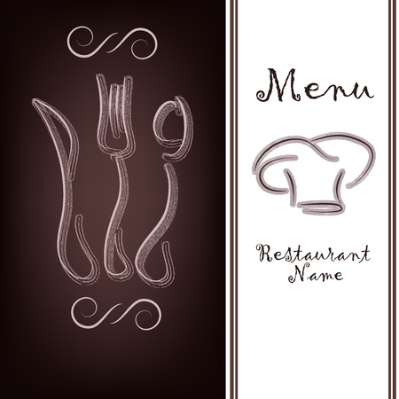 ornament menu: Outline of tableware on a brown background Illustration