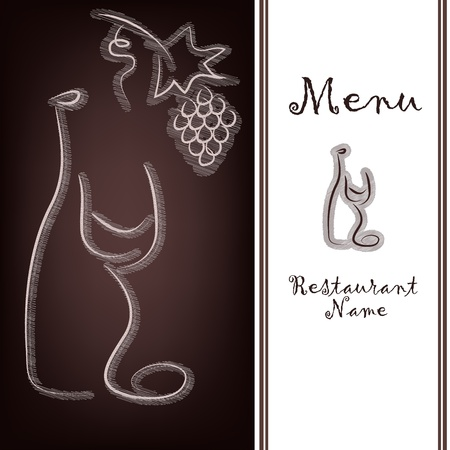 brown bottle: Outline of a bottle with wine, a glass and grapes on a brown background Illustration