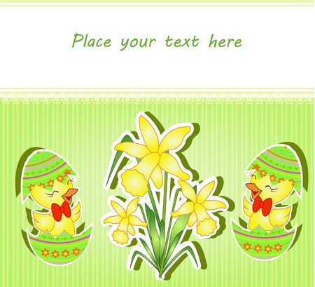 Easter card with chickens and narcissuses on a striped green background Vector