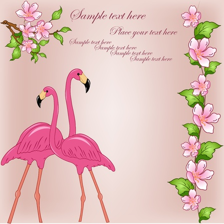 Two pink flamingos on a pink background with blossoming branches Stock Vector - 13324009