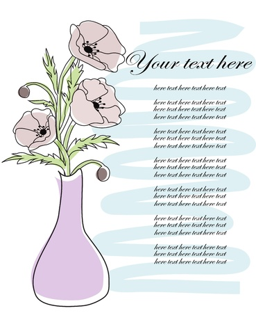 Poppies in a vase on a white background Vector