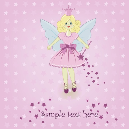 one person only: The fine little girl the fairy on a pink background with stars Illustration