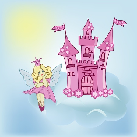 The girl the fairy and the Castle in the blue sky Stock Vector - 13327328