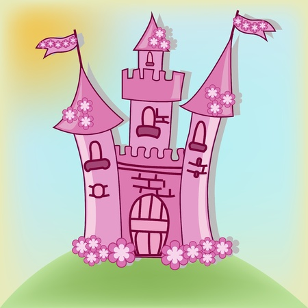 The beautiful pink castle  Illustration