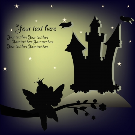 Black outline of the small fairy and the lock against the moon Vector