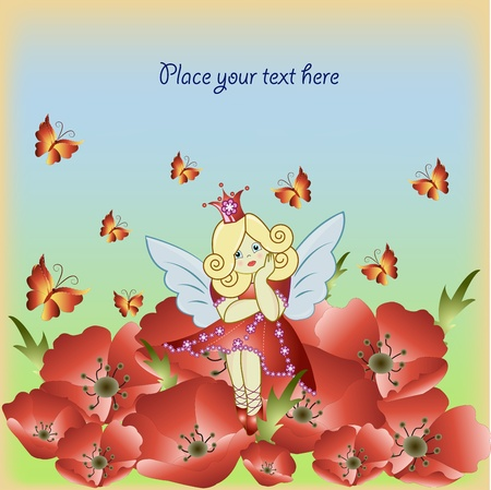 The little girl the fairy sitting on a red flowers Vector
