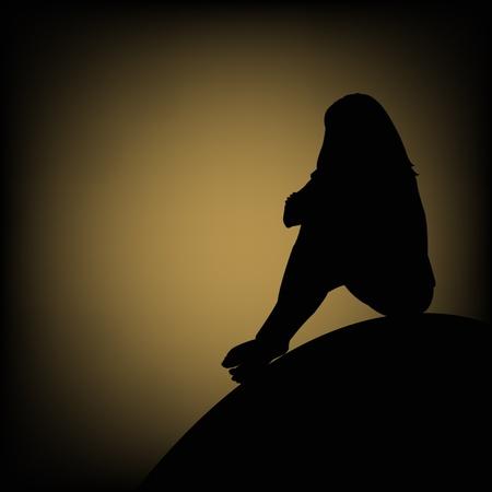 Zwarte omtrek van het meisje zittend op een verdriet tegen een maanlicht