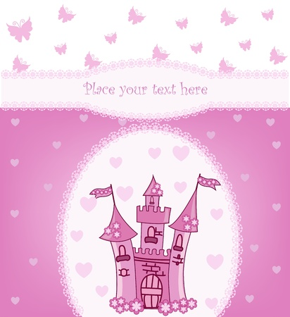 purple butterfly: Princess card with Magic Castle Illustration