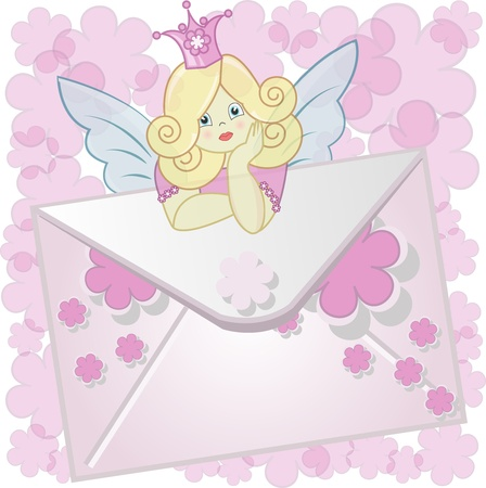 The fairy sits on an envelope with pink a flowers on a white background Stock Vector - 13327313