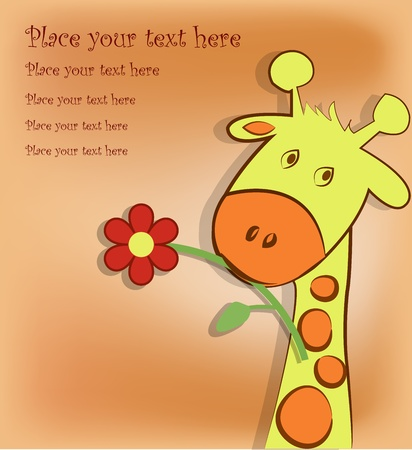 The giraffe holds in a mouth a flower on an orange background Vector