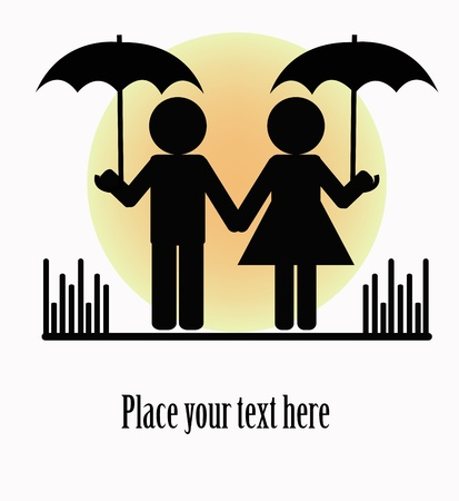 Silhouettes of two people with umbrellas on a white background Stock Vector - 13327317