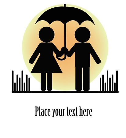 adult valentine: Silhouettes of two people with umbrellas on a white background