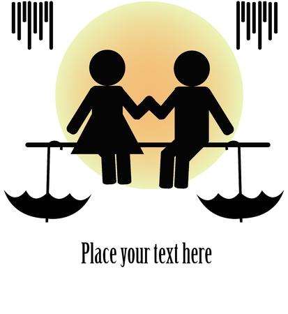 Black silhouettes of two sitting people with umbrellas on a white background Vector