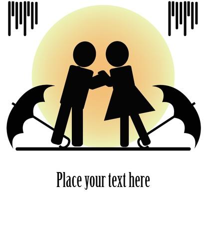 insulto: Siluetas negras de dos personas bes�ndose con paraguas sobre un fondo blanco