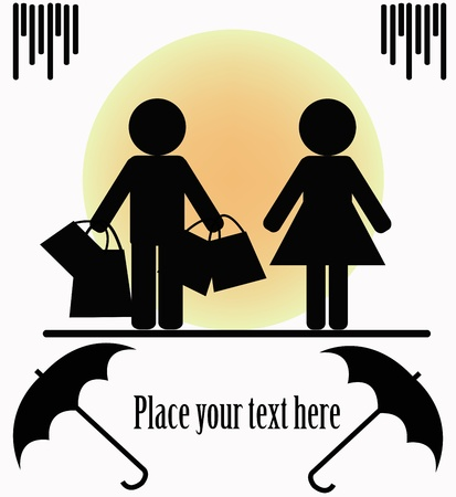 shopping cartoon: Silhouettes of two people on a white background Illustration