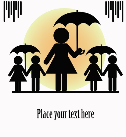 Silhouettes of people with umbrellas on a white background Vector