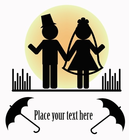 bride groom silhouette: Silhouettes of two people with umbrellas on a white background