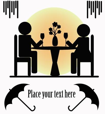 pareja comiendo: Siluetas negras de dos personas que se sientan sobre un fondo blanco Vectores