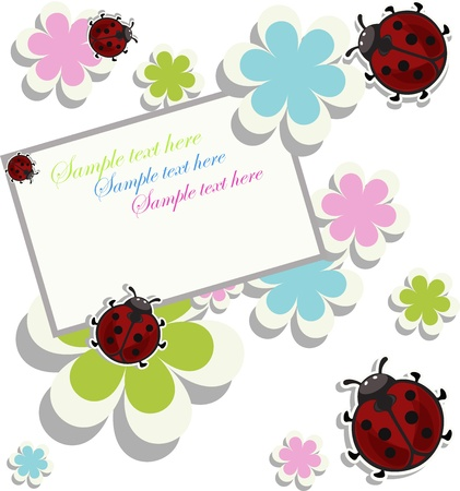Card sample with ladybugs and a flowers Stock Vector - 13327308