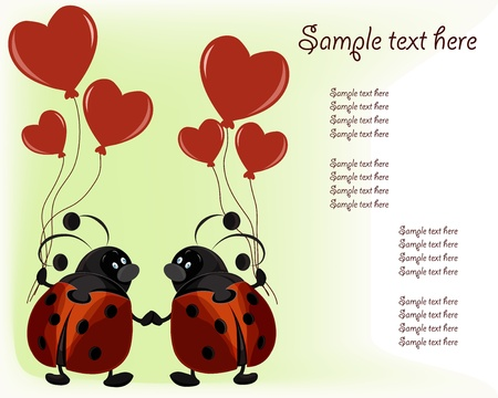 Beautiful card with ladybugs and hearts on a white background Vector