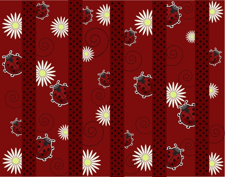 Ladybugs with camomiles and strips on a red background Vector