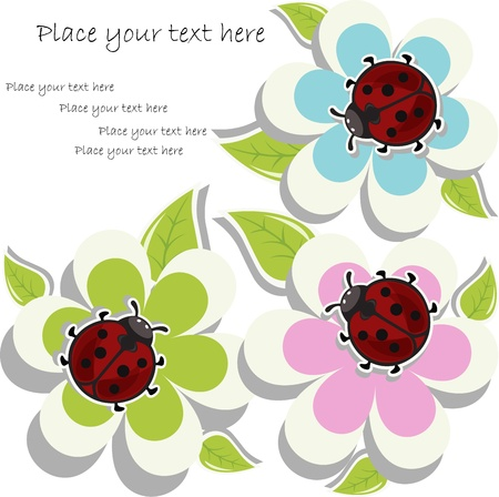 Beautiful card with ladybugs on flowers Vector
