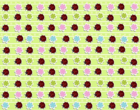 Sample from ladybugs, flowers and strips on a yellow background Vector