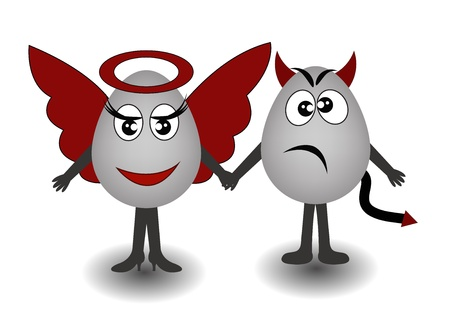 good and bad: Two amusing eggs an angel and the demon on a white background