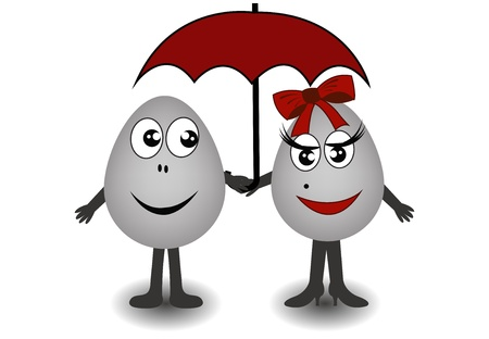 live feeling: Two ridiculous gray eggs. The boy and the girl with an umbrella on a white background