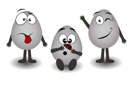 ridiculous: Three ridiculous gray eggs on a white background
