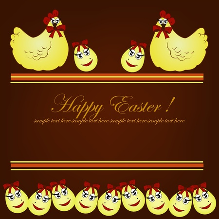 Easter card. Yellow chickens with eggs on a brown background Vector