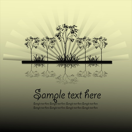 Outline of trees and grass Stock Vector - 13334213