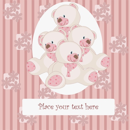 Pink bears on a striped, pink background with flowers Vector